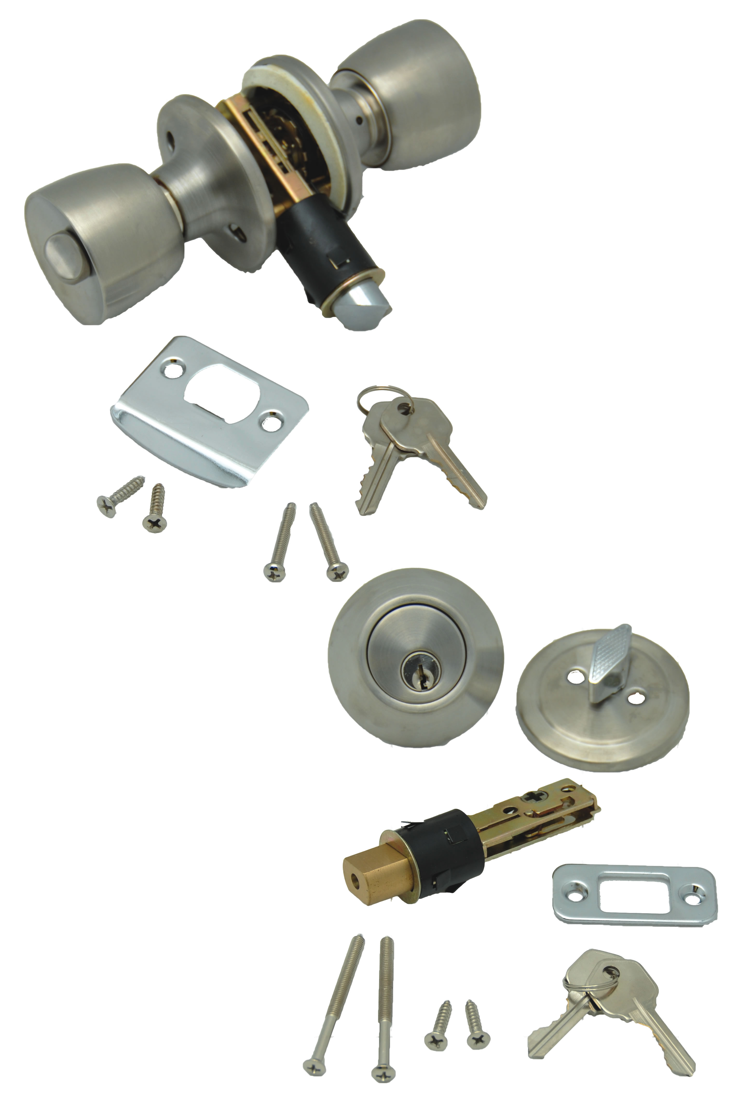 013-234-SS AP Products Entry Door Lock Includes Both Standard And