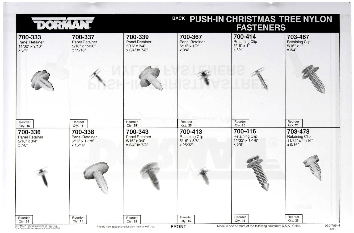 030-709 Dorman (TECHoice) Fastener Assortment With 5 Of Each Part
