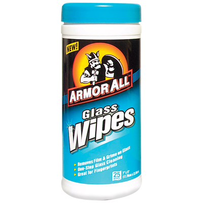 10865 Armor All/ STP Glass Cleaner 25 Wipes Cylinder