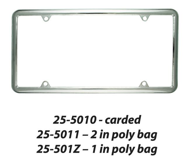 25-501Z Superior Automotive License Plate Frame Slim Rolled-Edge Style