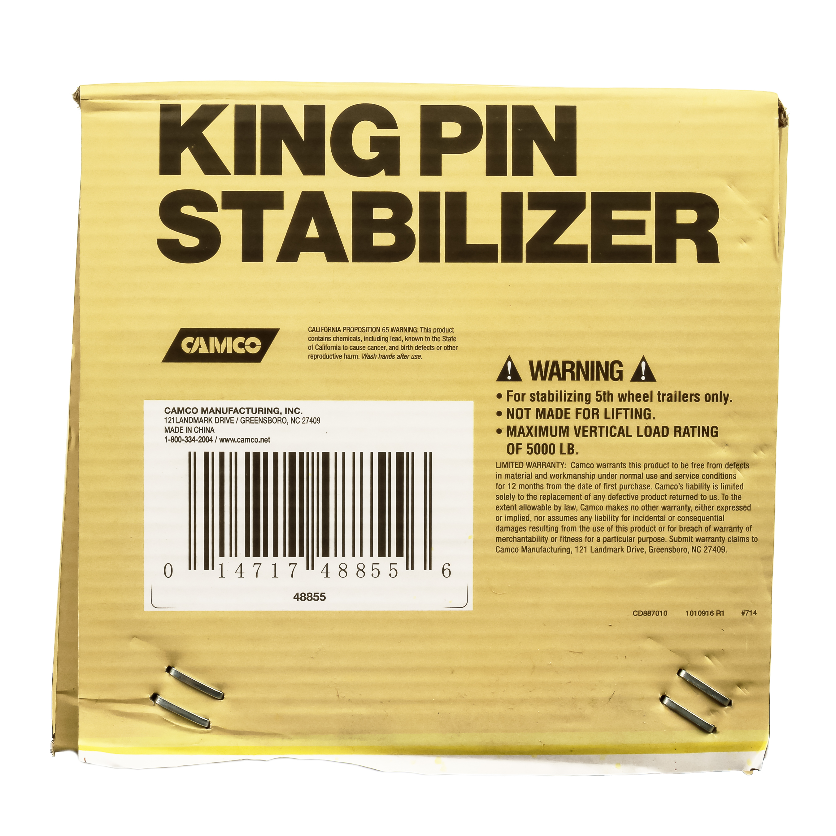 48855 Camco Fifth Wheel King Pin Stabilizer Jack Stand Use To Stabilize Fifth Wheel Trailer While Parked