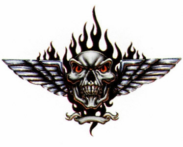 Gr661114 Elegantdecal Decal Winged Skull Black Flames