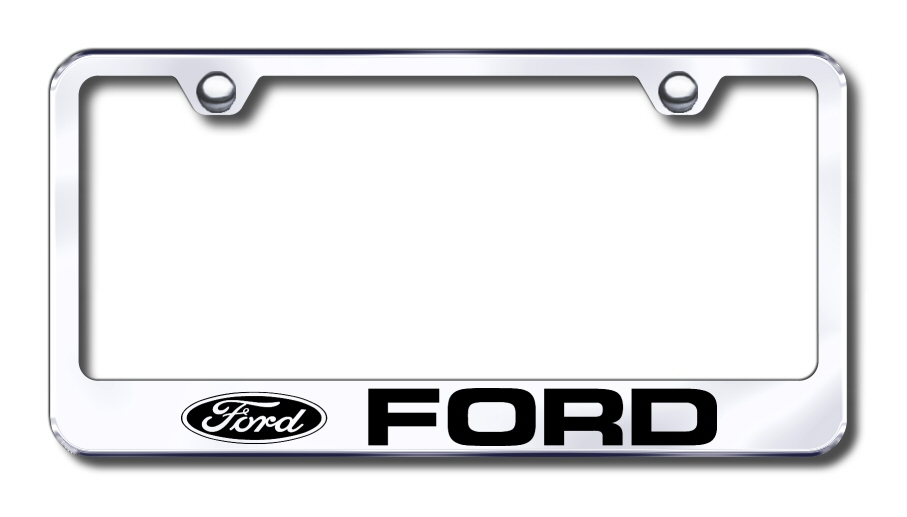 LF.FOR.EC Automotive Gold License Plate Frame Ford Factory Font