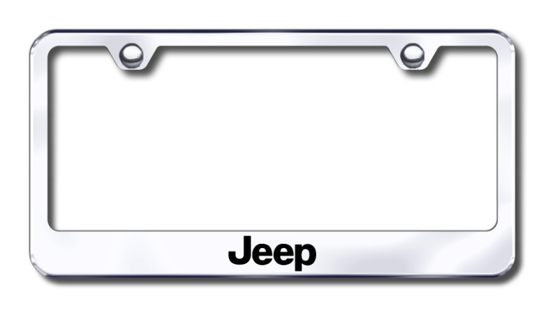 LF.JEE.EC Automotive Gold License Plate Frame Jeep Factory Font