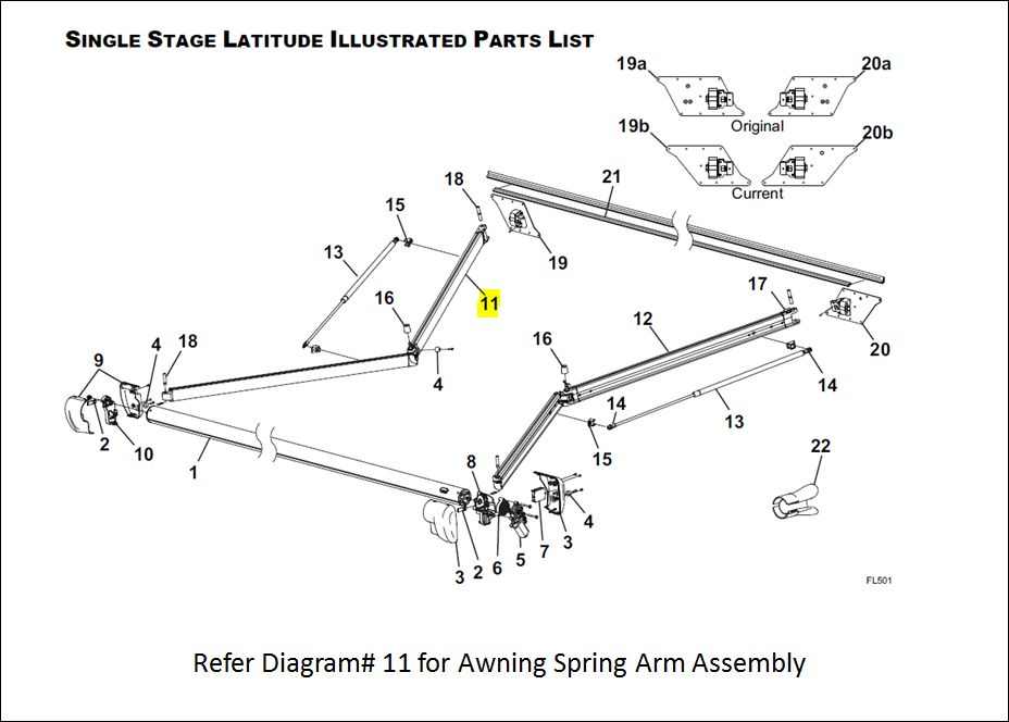 R001786 106 Carefree Rv Awning Arm For Use With Latitude Patio Awnings