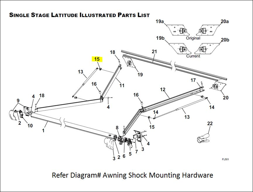 R001789 Carefree RV Awning Shock Mounting Hardware Replacement For