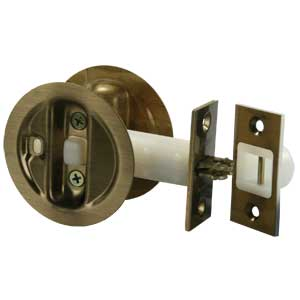 20885 JR Products Antique Brass Pocket Door Privacy Lock