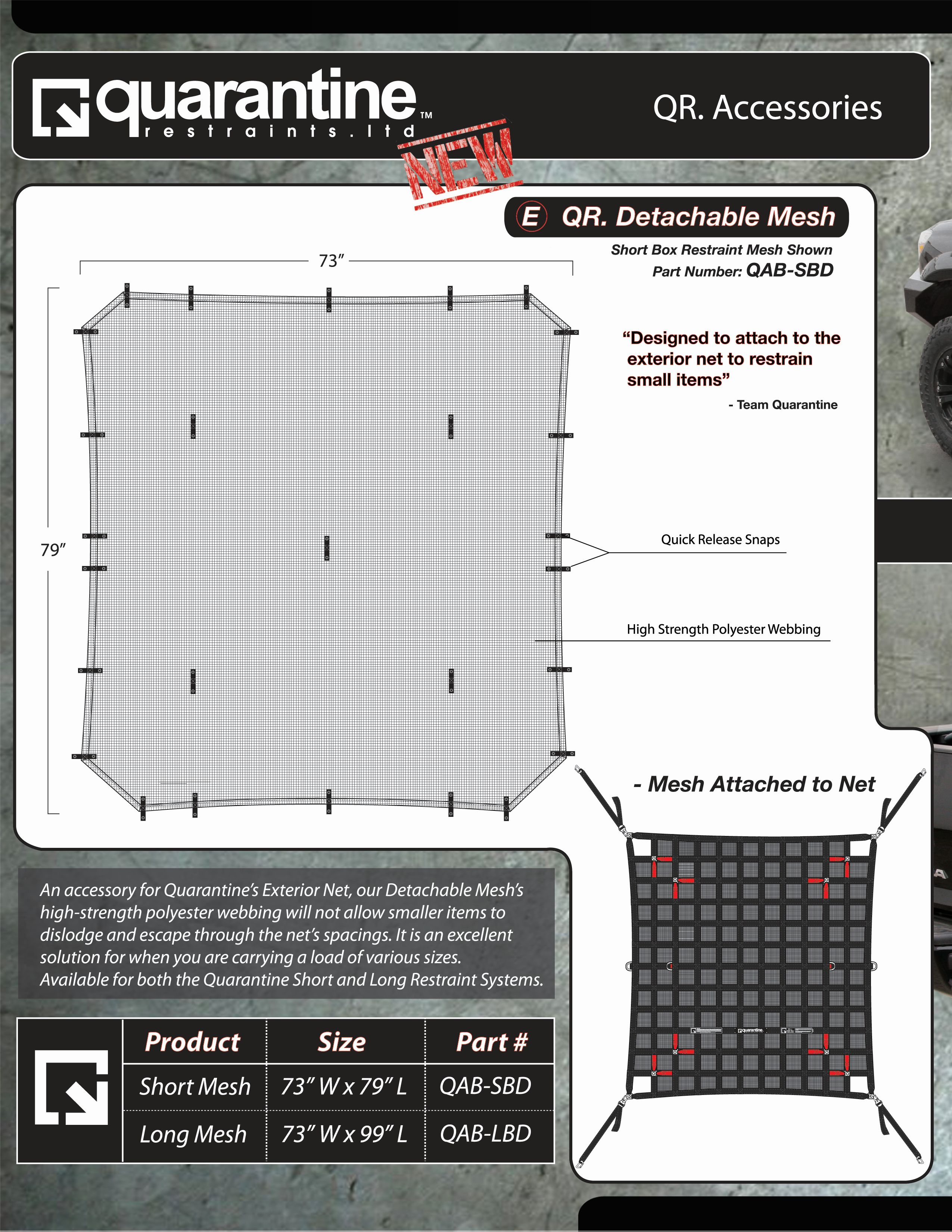QAB-SBD Quarantine Restraints Exterior Cargo Net Mesh Requires To The