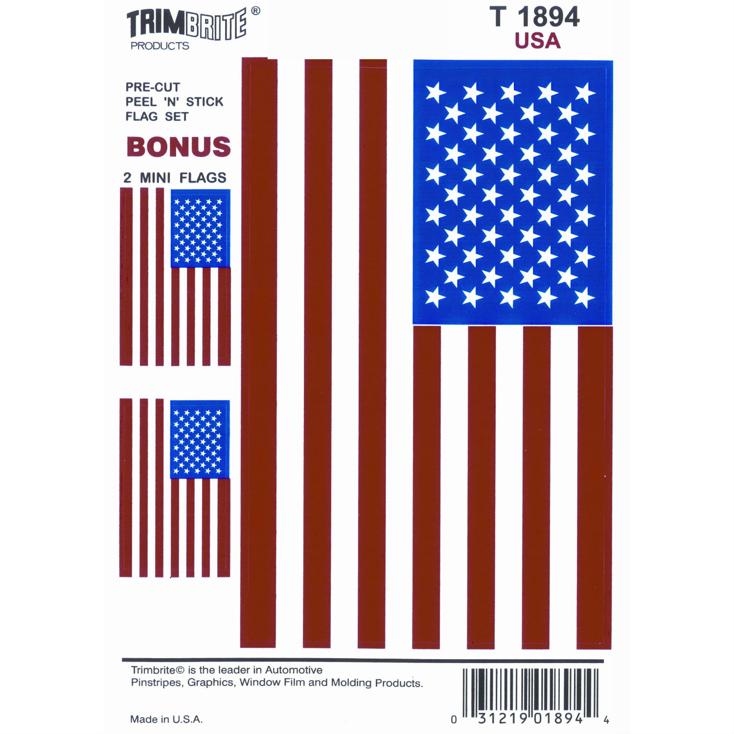 T1894 Trimbrite Decal American Flag
