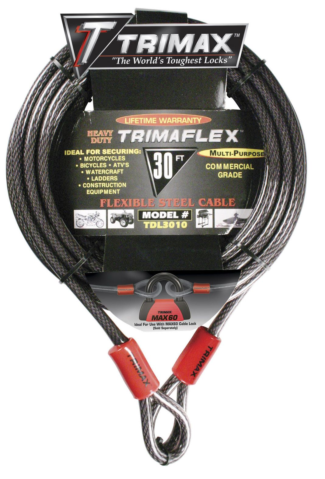 TDL3010 Trimax Locks Security Cable Without Lock