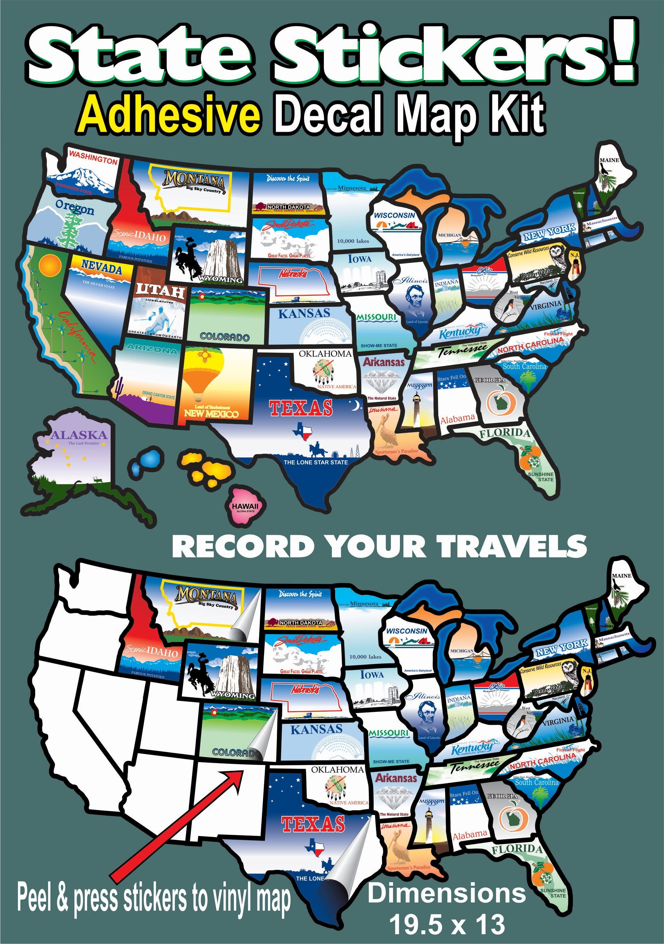 STATESTICKERMAP State Sticker Travel Map Sticker United States Map