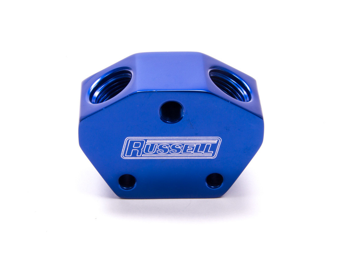 Russell 650410 Blue Billet Aluminum Fuel Y-Block