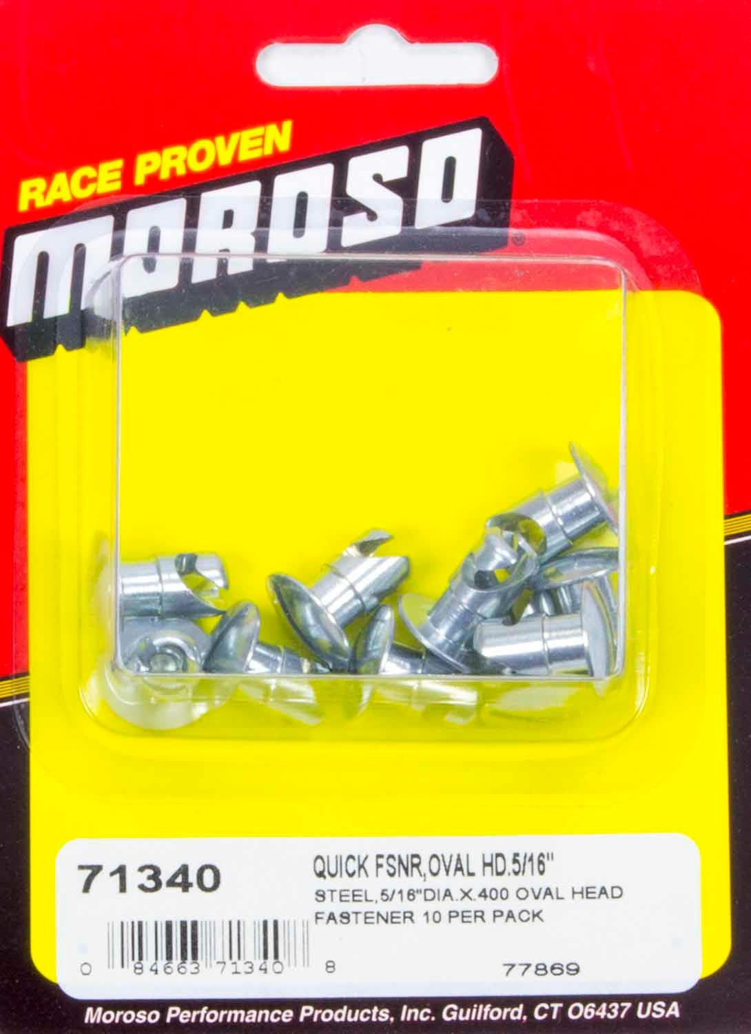71340 Moroso Steel Quick Fasteners- Oval Head-5/16in x .400i