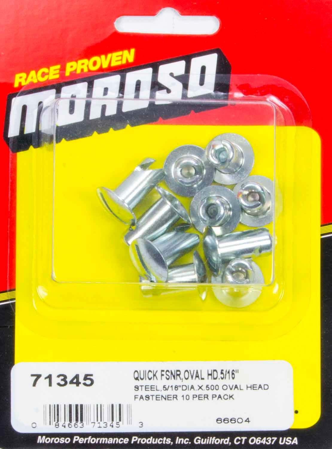 71345 Moroso Steel Quick Fasteners- Oval Head-5/16in x .5in