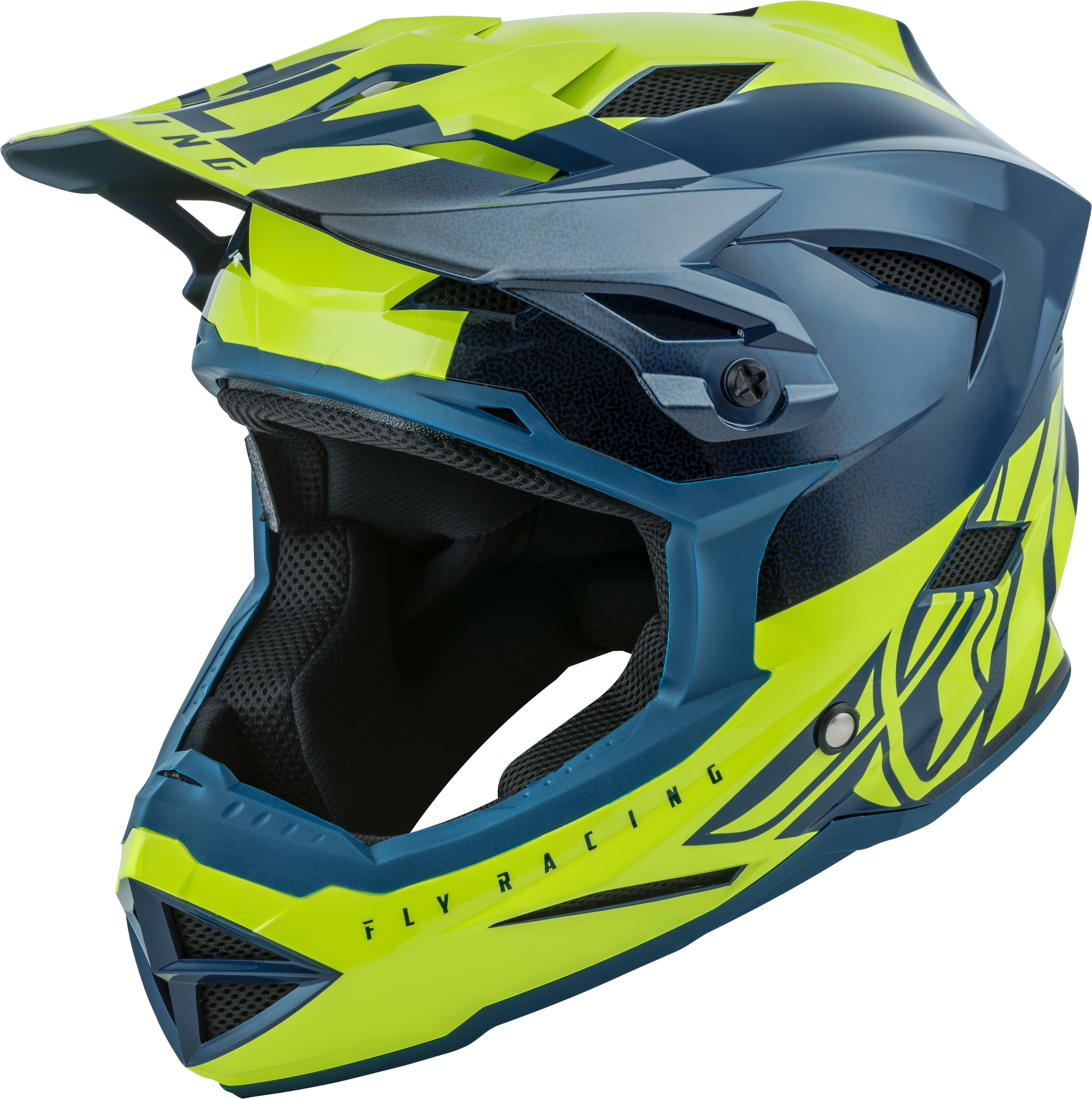 73-9173YS Fly Racing Default Helmet Teal/Hi-Vis Yellow Ys